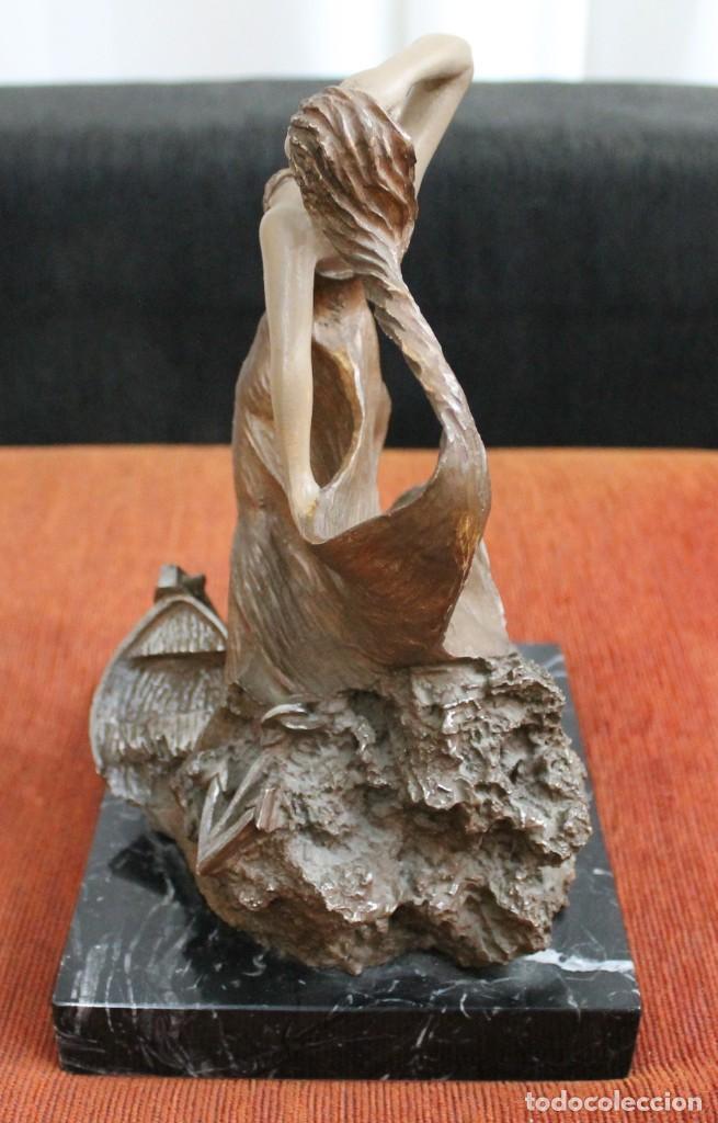 Arte: ESCULTURA MIGUEL SENSERRICH BRONCE PEANA MARMOL NEGRO VETEADO - Foto 2 - 194239326