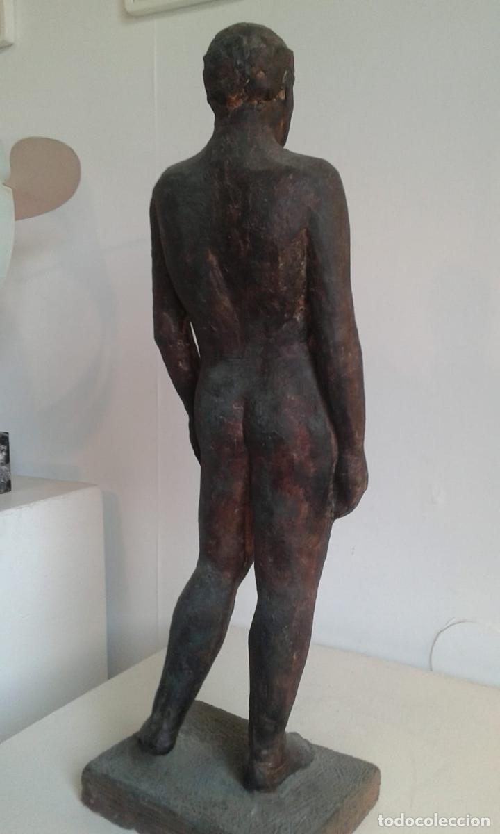 Arte: Magnifica figura masculina en material refractario policromado: El joven Marc. Mitad del siglo 20 - Foto 4 - 194333229