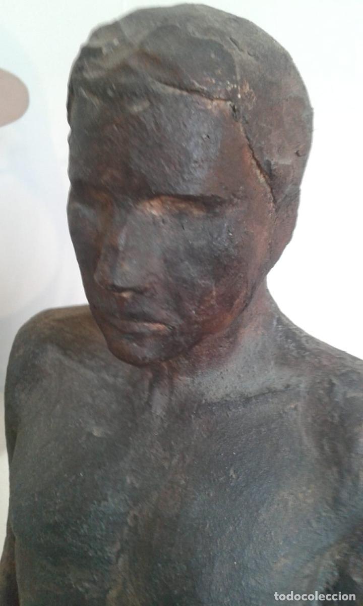 Arte: Magnifica figura masculina en material refractario policromado: El joven Marc. Mitad del siglo 20 - Foto 5 - 194333229