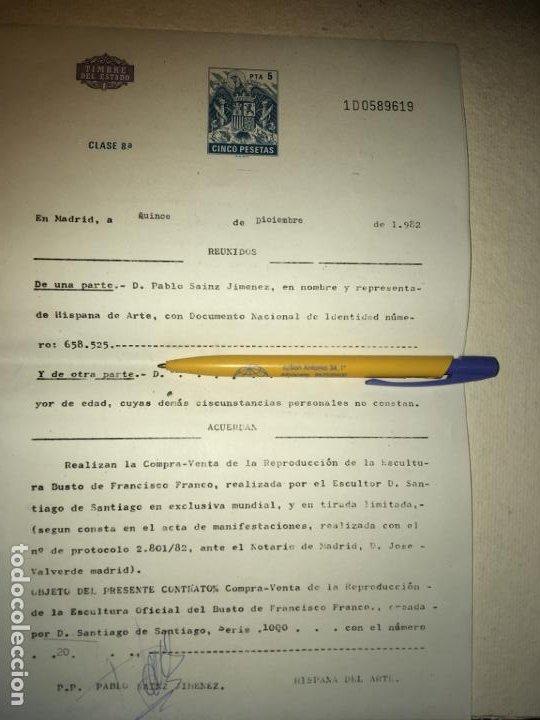Arte: Escultura busto Francisco Franco por Santiago de Santiago,20 de mil. año 1982. 13 cms.Hispania Arte - Foto 8 - 194334557