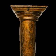 Arte: ANTIGUA COLUMNA DE MADERA DEL SIGLO XIX, EN TONO COBRE. 122 CM DE ALTO.. Lote 194354550