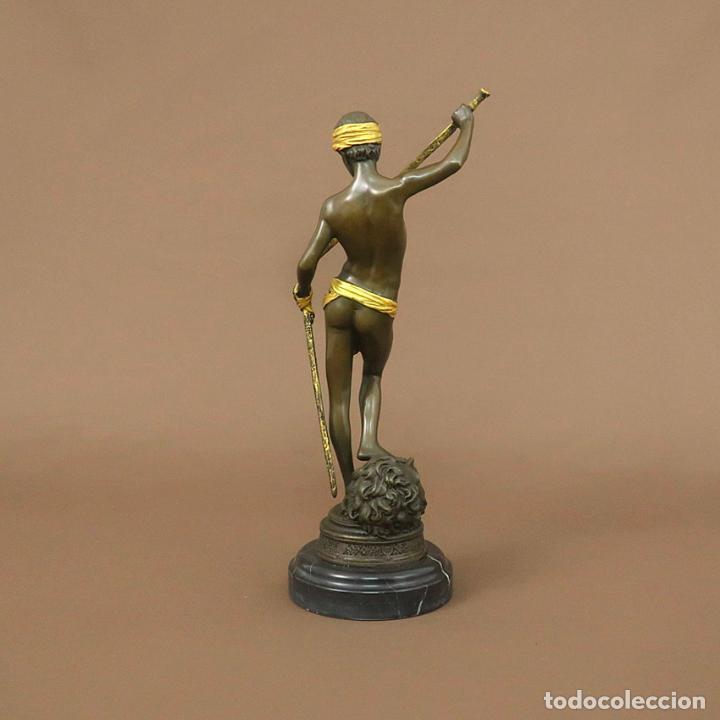 Arte: Figura de bronce. David con espada -Dorado - Foto 3 - 194387775
