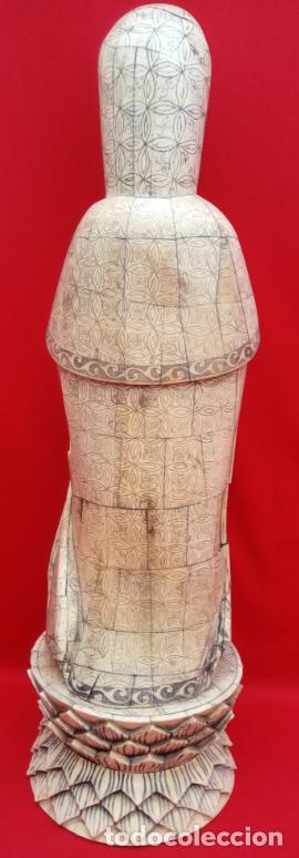 Arte: ESCULTURA DE DIOSA GUANYIN, CIRCA 1900. MAGNÍFICA TALLA. 54,5 CMS DE ALTURA (BUEN TAMAÑO). - Foto 9 - 194524410