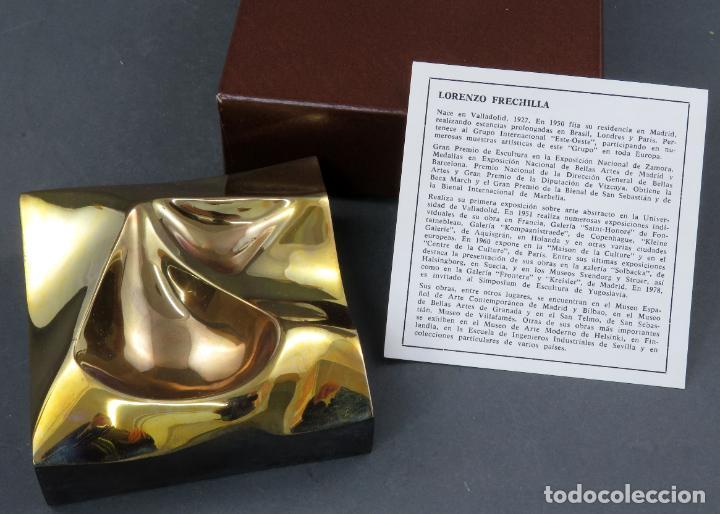 Arte: Cenicero en bronce dorado pulido Lorenzo Frechilla sin estrenar en su caja siglo XX - Foto 2 - 194599608