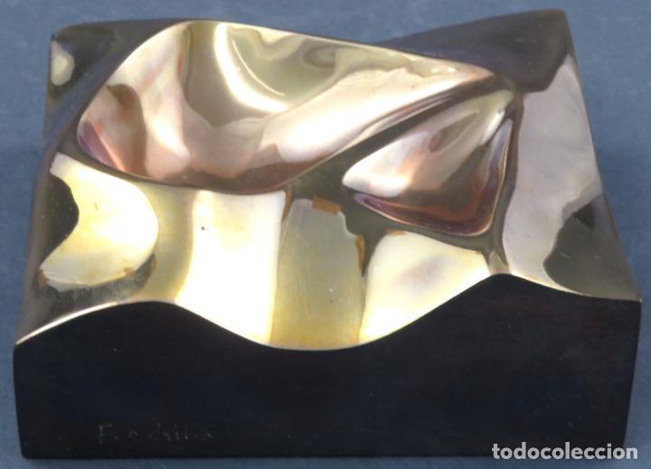 Arte: Cenicero en bronce dorado pulido Lorenzo Frechilla sin estrenar en su caja siglo XX - Foto 3 - 194599608