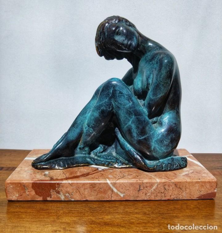 JUAN DE ÁVALOS Y TABORDA (1911-2006) ART DECO ESCULTURA DE BRONCE LA COQUETA SIGLO XX (Arte - Escultura - Bronce)