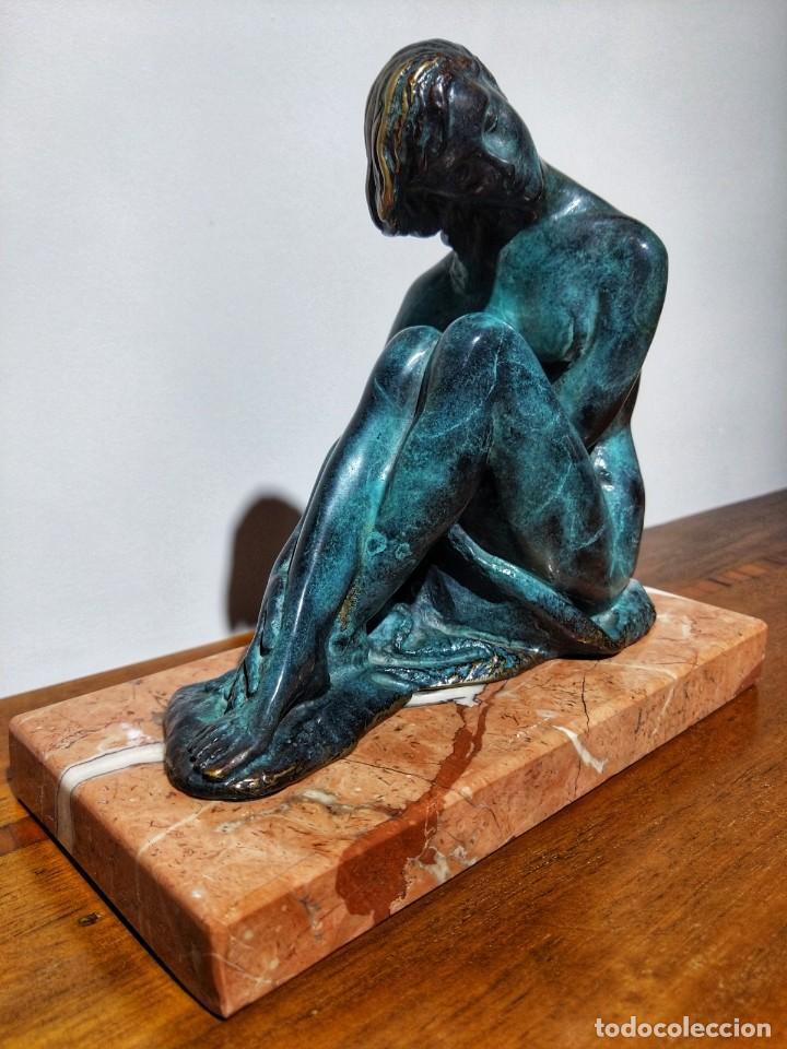 Arte: Juan de Ávalos y Taborda (1911-2006) Art Deco Escultura de Bronce La Coqueta Siglo XX - Foto 2 - 194684718