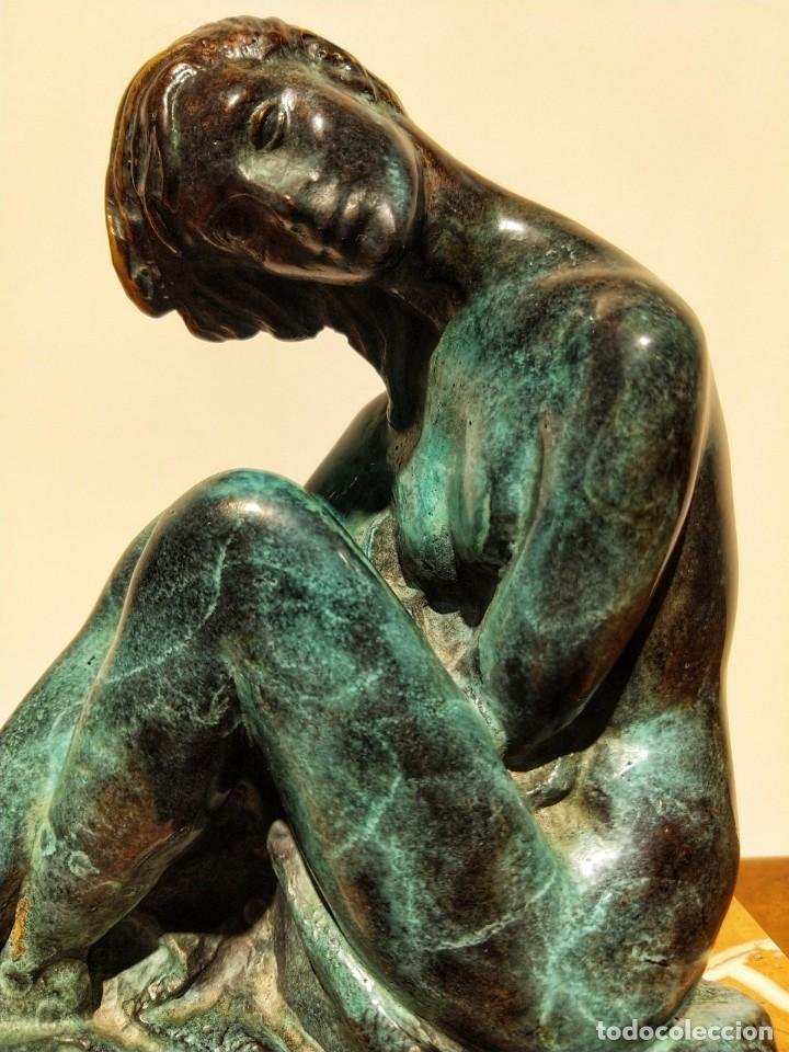 Arte: Juan de Ávalos y Taborda (1911-2006) Art Deco Escultura de Bronce La Coqueta Siglo XX - Foto 4 - 194684718