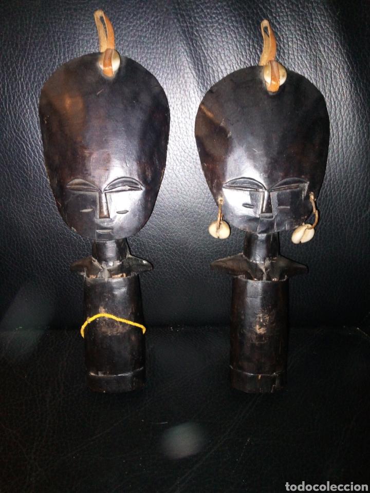 PAREJA FIGURAS AFRICANAS EBANO (Arte - Escultura - Madera)