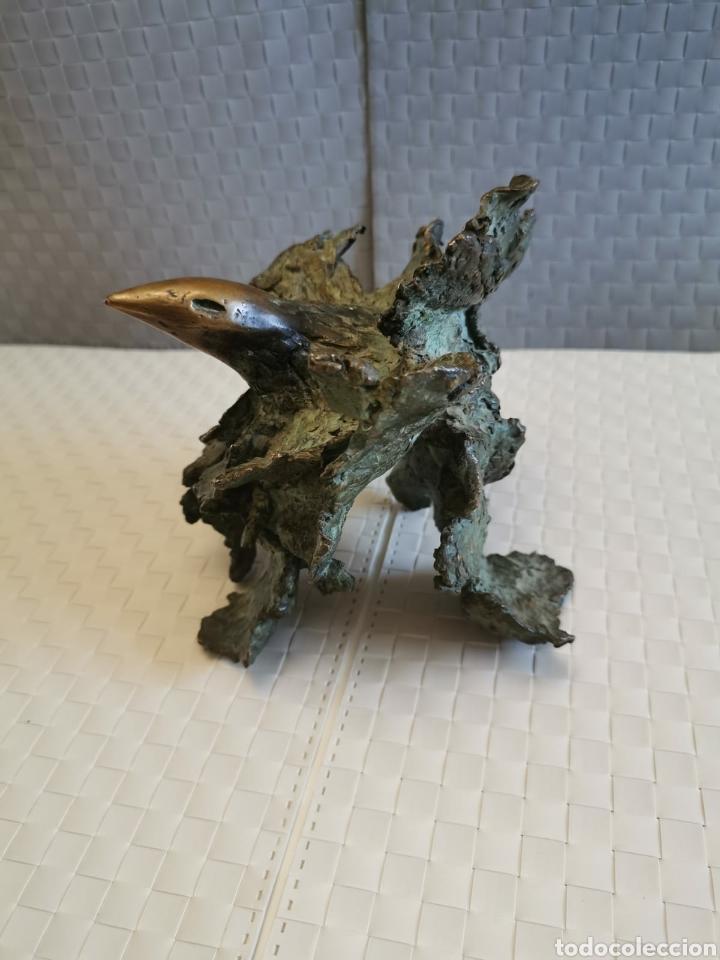 Arte: Fantastica escultura en bronce diseño pajaro firmado tablada - Foto 3 - 195008565