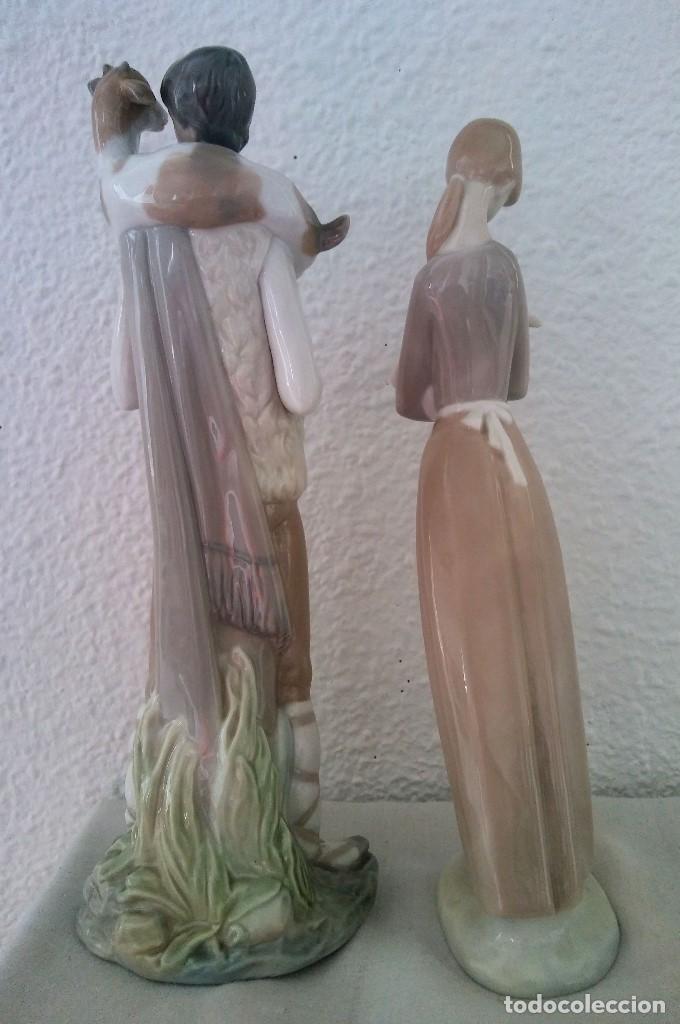 Arte: Lote Figuras porcelana pastores Nao LLadró - Foto 3 - 195088366