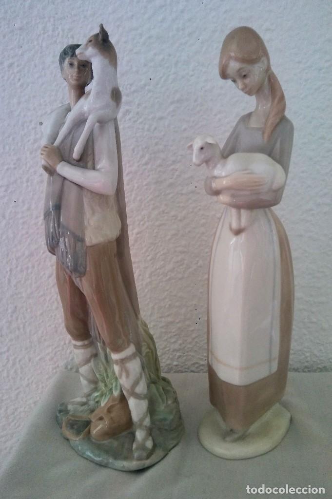 Arte: Lote Figuras porcelana pastores Nao LLadró - Foto 5 - 195088366