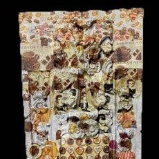 Arte: ANTIGUA TABLA EFECTO RETABLO, BOMBONES, CAFÉ , TÉ , PASTAS..... Lote 195283928