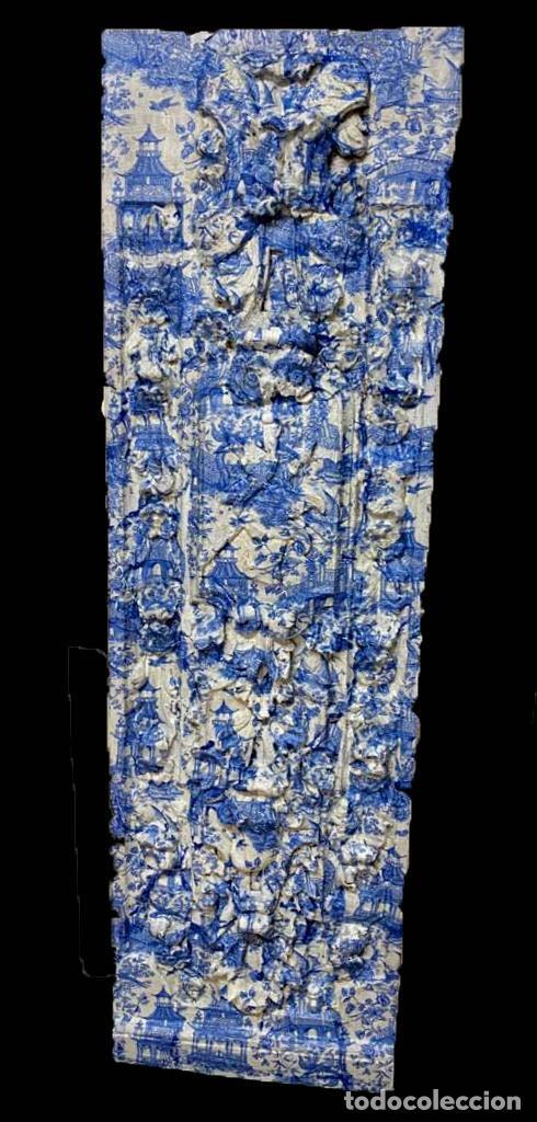 ANTIGUA TABLA , TOILE DE JOUY EN AZULES, EFECTO RETABLO.PRECIOSA. (Arte - Escultura - Resina)