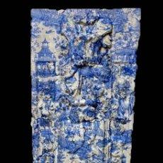 Arte: ANTIGUA TABLA , TOILE DE JOUY EN AZULES, EFECTO RETABLO.PRECIOSA.. Lote 195283993