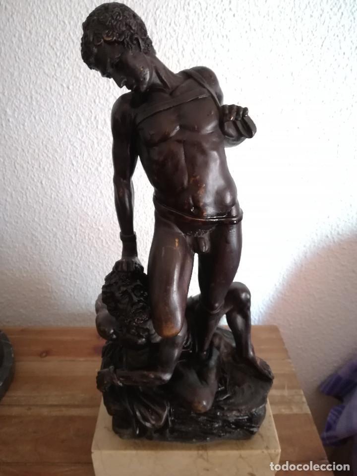 ESCULTRAS DE BRONCE DAVID Y GOLIAT AÑOS 70 (Arte - Escultura - Bronce)