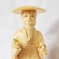 Arte: ANTIGUO MARFIL ORIENTAL ESCULTURA FIGURA CON SOMBRERO SUJETANDO UNA BOLSA Y UN PERGAMINO CHINO JAPON. Lote 195468361