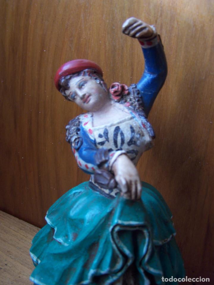 Arte: Figura de terracota de una Granadina bailando y tocando las castañuelas, barro granadino. - Foto 4 - 195629510