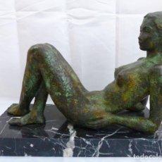 Arte: JOAQUÍM ROS I BOFARULL - CHICA DESNUDA - BRONCE - PIEZA UNICA - 25 X 35 CM.. Lote 196398763