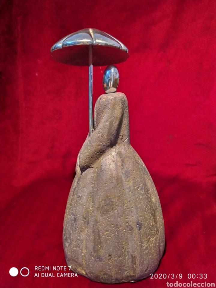 Arte: PRECIOSA ESCULTURA DE DAMA, EN PIEDRA Y METAL, VER - Foto 6 - 196399001