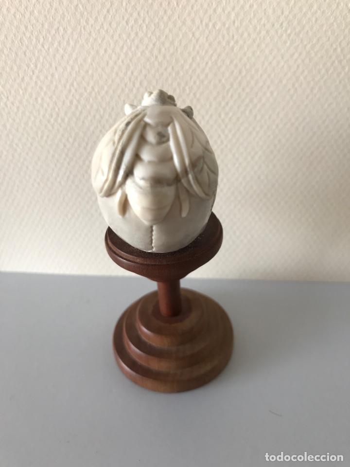 Arte: Memento Morí. Hueso tallado y base torneada de madera. Mitad siglo XIX - Foto 4 - 196845032