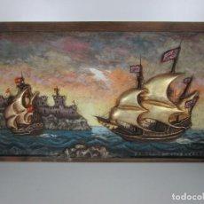 Arte: RETABLO - PANEL - TALLA DE MADERA - PINTADA A MANO - FORTALEZA ESPAÑOLA, CON VELEROS - AÑOS 60-70. Lote 197397640