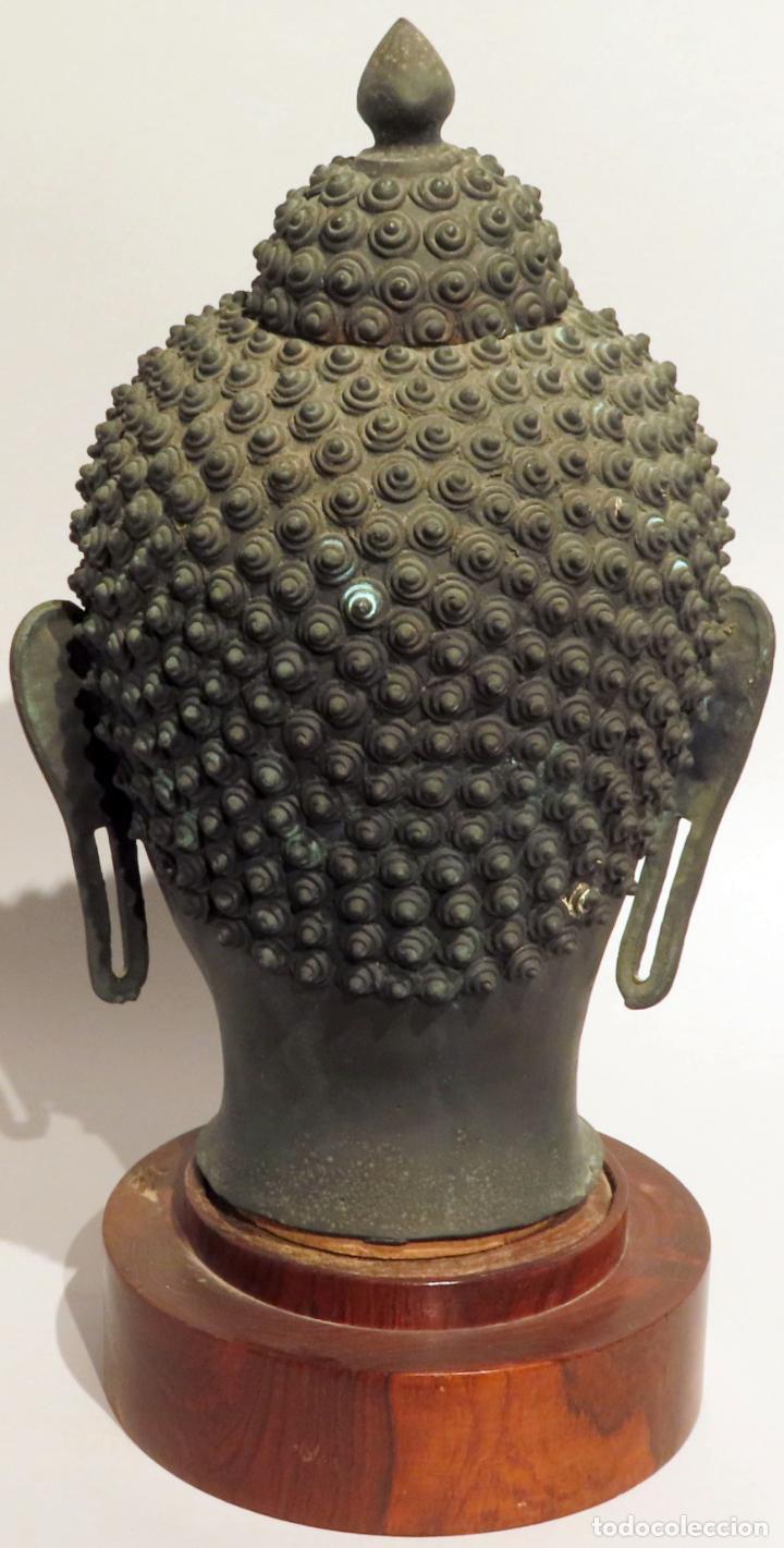 Arte: Busto de Buda en bronce con cabujón de piedras duras y peana de madera China siglo XIX - Foto 5 - 198812200