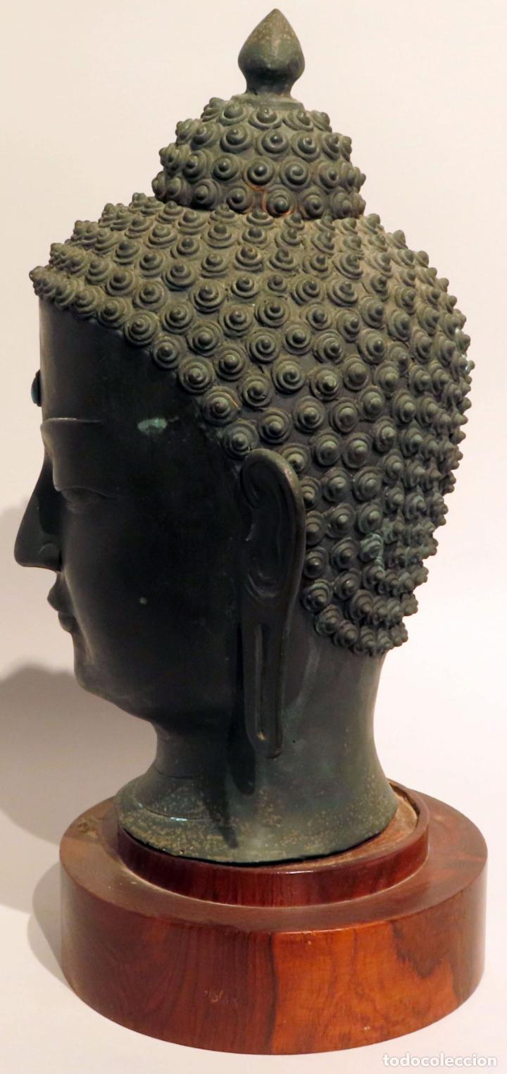 Arte: Busto de Buda en bronce con cabujón de piedras duras y peana de madera China siglo XIX - Foto 6 - 198812200