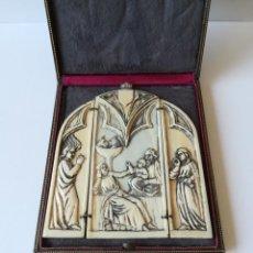 Arte: IMPRESIONANTE TRÍPTICO RELICARIO EN MARFIL TALLADO EN RELIEVE SIGLO XVIII. Lote 199203141