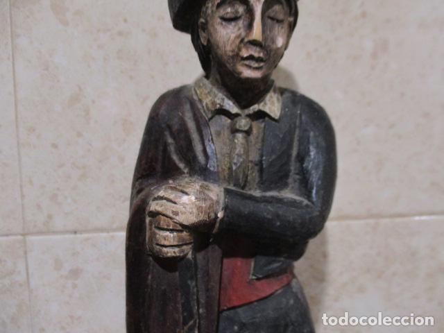 Arte: PRECIOSA ESCULTURA TALLA DE MADERA DE BANDOLERO - 40 CM DE ALTURA. - Foto 3 - 199411661