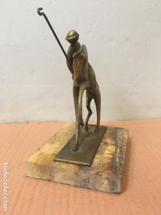 Arte: (M) FIGURA ART-DECO DE BRONCE , JUGADOR DE POLO 17,5 altura X13,5X10,3 cm. - Foto 3 - 199831298