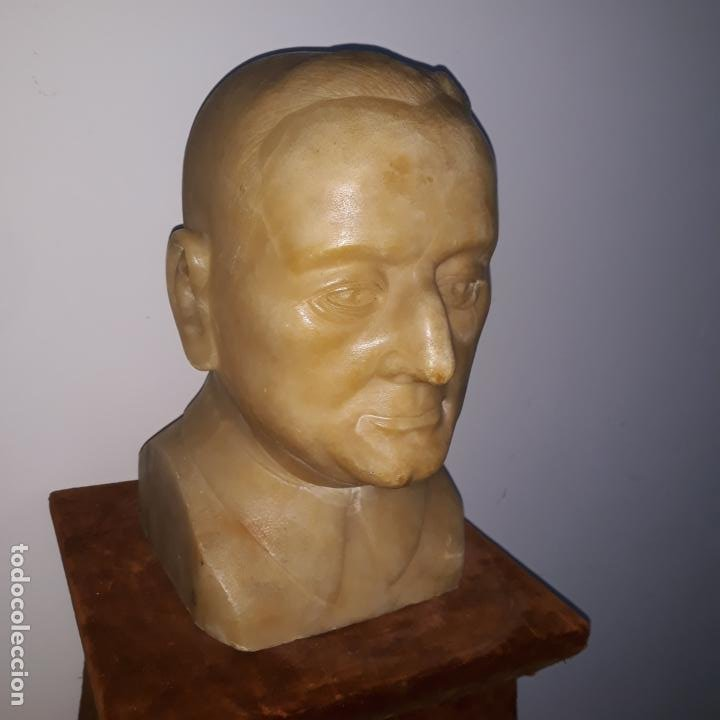 Arte: busto en alabastro trabajado,republica española,fechada en 1933,firmada j.iglesias - Foto 6 - 199951320