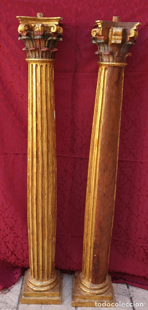 Arte: RETABLO. Pareja de columnas talladas, doradas, estofadas y policromadas en rojo y verde. Siglo XVII. - Foto 3 - 201274417