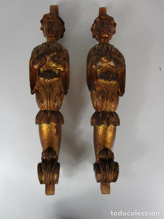 Arte: Pareja de Tallas de Madera - Figuras Orientales - Estípites - Dorados en Pan de Oro - S. XIX - Foto 2 - 203971498