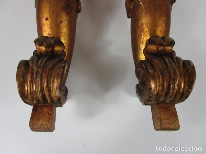 Arte: Pareja de Tallas de Madera - Figuras Orientales - Estípites - Dorados en Pan de Oro - S. XIX - Foto 3 - 203971498