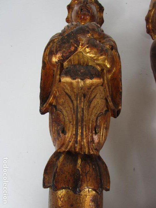 Arte: Pareja de Tallas de Madera - Figuras Orientales - Estípites - Dorados en Pan de Oro - S. XIX - Foto 4 - 203971498