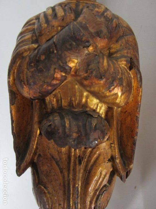 Arte: Pareja de Tallas de Madera - Figuras Orientales - Estípites - Dorados en Pan de Oro - S. XIX - Foto 5 - 203971498