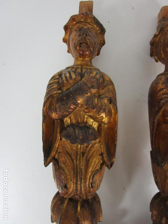 Arte: Pareja de Tallas de Madera - Figuras Orientales - Estípites - Dorados en Pan de Oro - S. XIX - Foto 6 - 203971498
