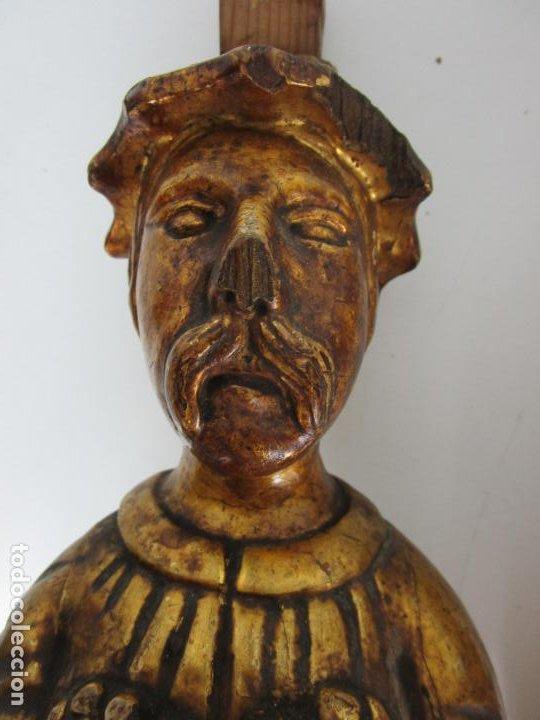 Arte: Pareja de Tallas de Madera - Figuras Orientales - Estípites - Dorados en Pan de Oro - S. XIX - Foto 7 - 203971498
