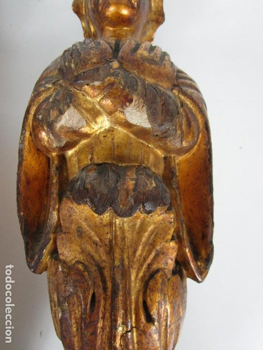 Arte: Pareja de Tallas de Madera - Figuras Orientales - Estípites - Dorados en Pan de Oro - S. XIX - Foto 10 - 203971498