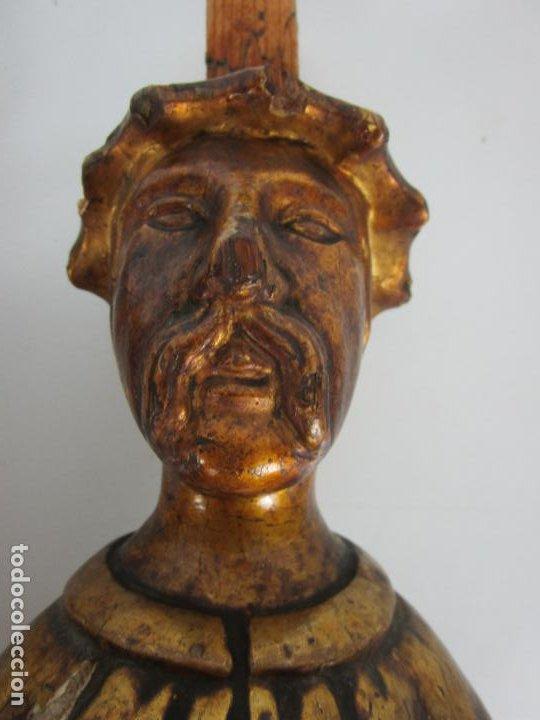 Arte: Pareja de Tallas de Madera - Figuras Orientales - Estípites - Dorados en Pan de Oro - S. XIX - Foto 11 - 203971498
