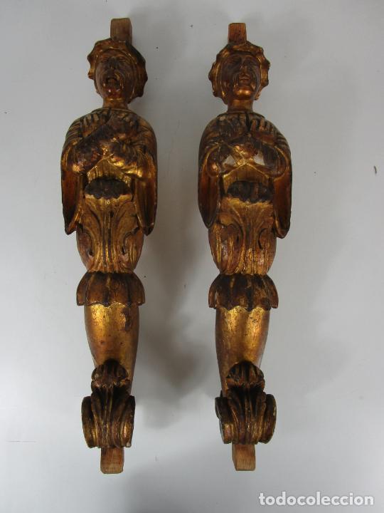 Arte: Pareja de Tallas de Madera - Figuras Orientales - Estípites - Dorados en Pan de Oro - S. XIX - Foto 12 - 203971498