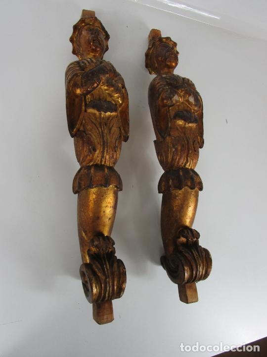 Arte: Pareja de Tallas de Madera - Figuras Orientales - Estípites - Dorados en Pan de Oro - S. XIX - Foto 13 - 203971498