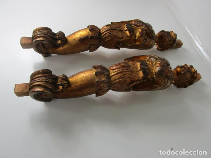 Arte: Pareja de Tallas de Madera - Figuras Orientales - Estípites - Dorados en Pan de Oro - S. XIX - Foto 14 - 203971498