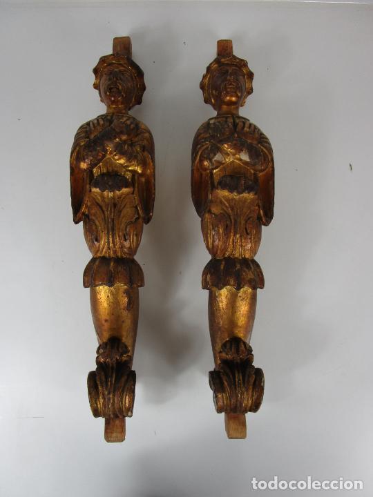 Arte: Pareja de Tallas de Madera - Figuras Orientales - Estípites - Dorados en Pan de Oro - S. XIX - Foto 19 - 203971498