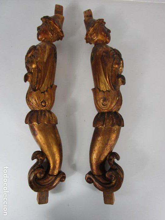 Arte: Pareja de Tallas de Madera - Figuras Orientales - Estípites - Dorados en Pan de Oro - S. XIX - Foto 20 - 203971498