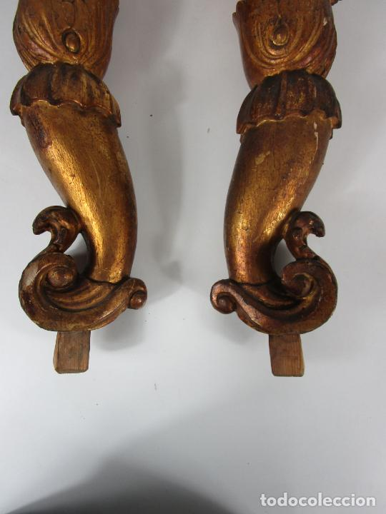 Arte: Pareja de Tallas de Madera - Figuras Orientales - Estípites - Dorados en Pan de Oro - S. XIX - Foto 21 - 203971498
