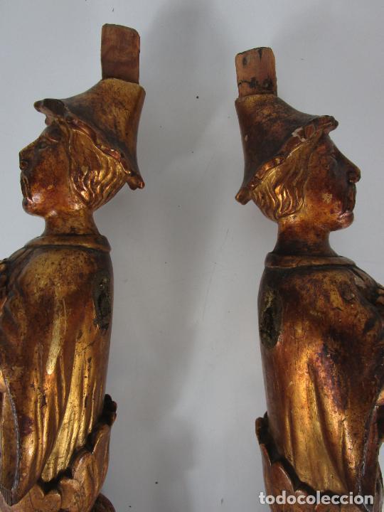 Arte: Pareja de Tallas de Madera - Figuras Orientales - Estípites - Dorados en Pan de Oro - S. XIX - Foto 23 - 203971498