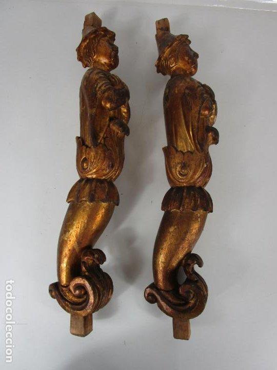 Arte: Pareja de Tallas de Madera - Figuras Orientales - Estípites - Dorados en Pan de Oro - S. XIX - Foto 24 - 203971498