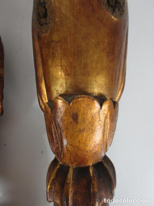 Arte: Pareja de Tallas de Madera - Figuras Orientales - Estípites - Dorados en Pan de Oro - S. XIX - Foto 27 - 203971498